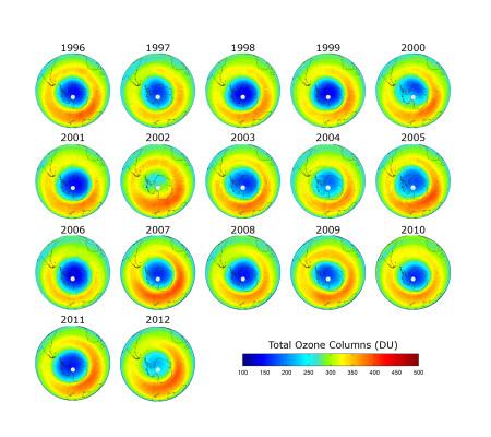 Srednje vrednosti distribucije polarnog ozona u periodu septembar, oktobar, novembar od 1996 do 2012. (Slika: BIRA/IASB)