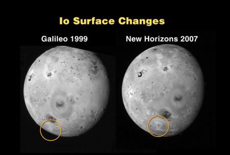Promene koje je New Horizons zabeležio na Iu u odnosu na snimke misije Galilej