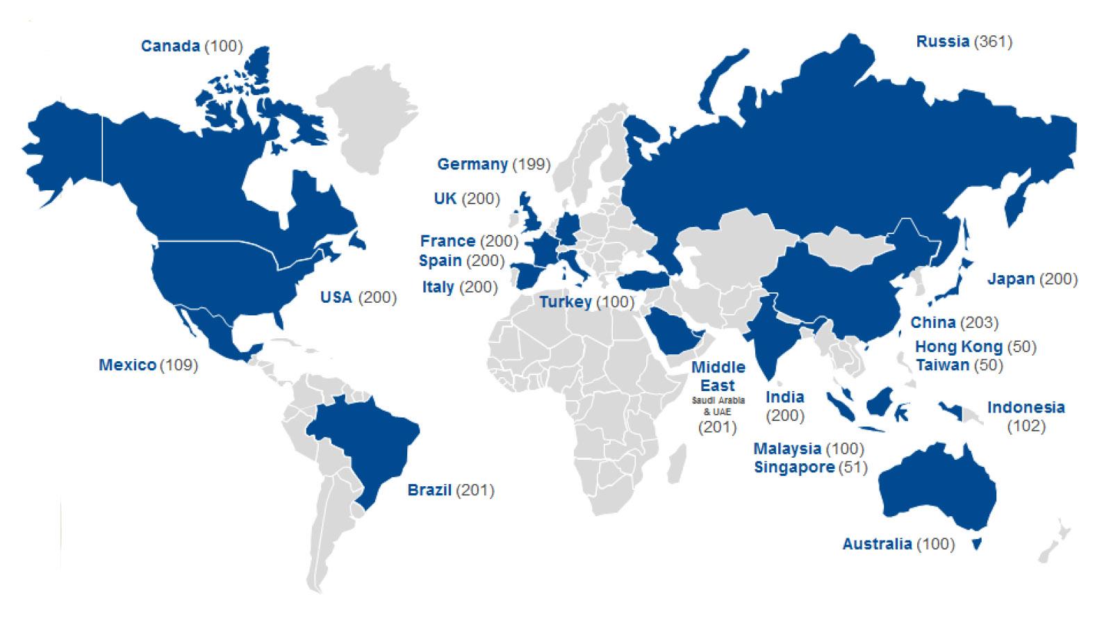 Mapa pokazuje koje su zemlje obihvaćene istraživanjem