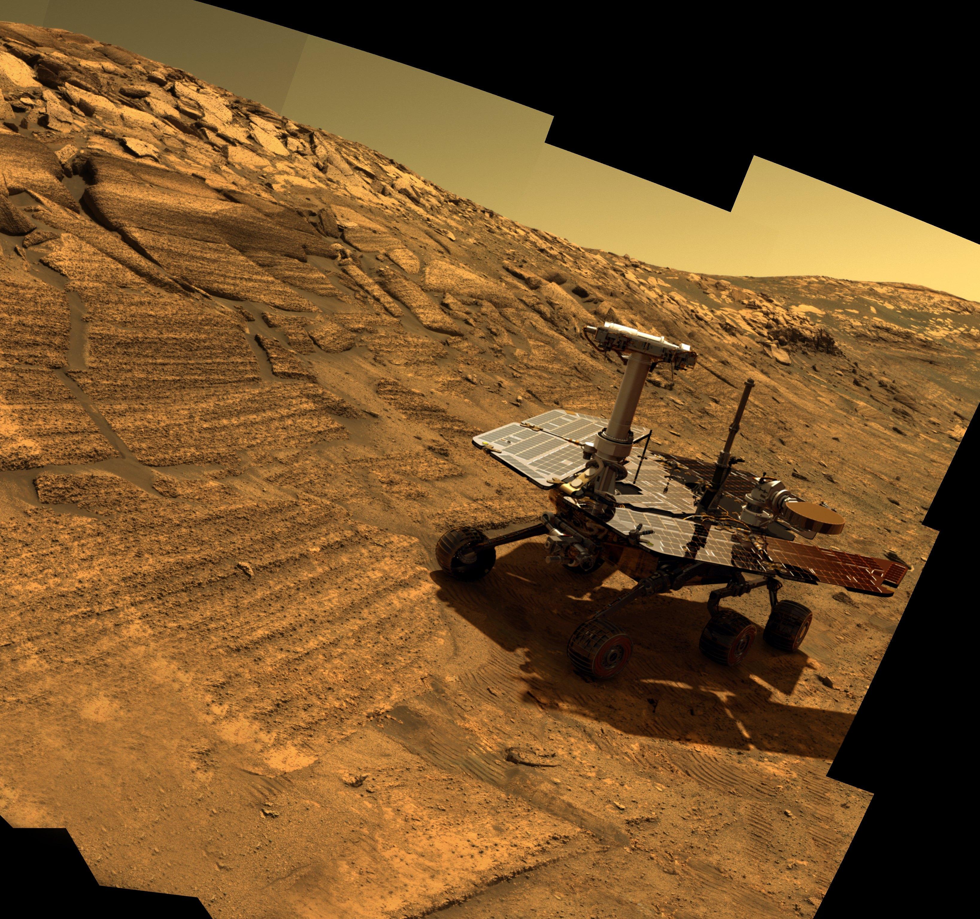 Opportunity u krateru Endurans (kompjuterska simulacija)