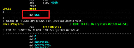 U kodu se može naći mali trag u vidu cifre 666 iza koje sledi dekripciona sabrutina