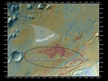 Prikaz lokacije na koju je sleteo rover i lokacije na kojoj je uzet uzorak kamena (Foto: NASA/JPL-Caltech/MSSS)