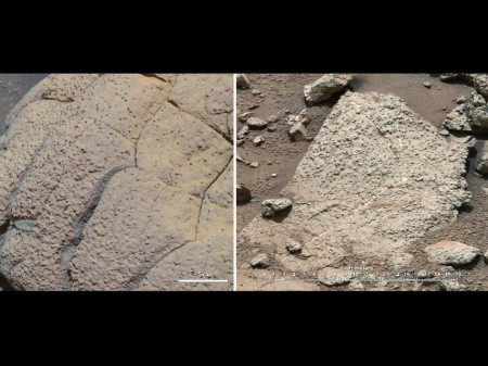 Poređenje kamena koji je snimio rover Opportunity (levo) i rover Curiosity (desno) na dve različite lokacije na Marsu (Foto: NASA/JPL-Caltech/Cornell/MSSS)