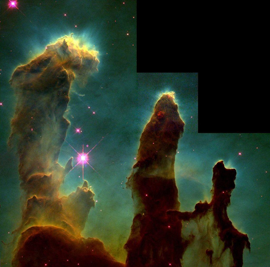 Verovatno najpoznatiji snimak Habla, tzv. Stubovi stvaranja - oblaci gasa i prašine u nebuli Orao iz kojih se rađa nova zvezda
